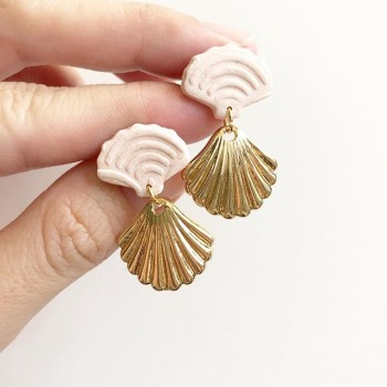 Blush Blooms Gold Wave Earrings - Diary of a Miniature Enthusiast
