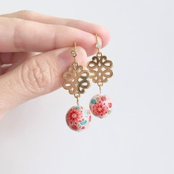Tranquil Sakura Pink & Turquoise Floral Stud Earrings - Diary of a Miniature Enthusiast