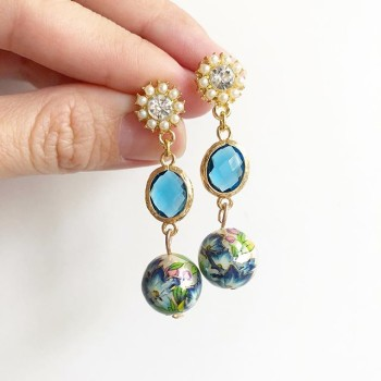 Pearl with Blue Lillies Earrings - Diary of a Miniature Enthusiast