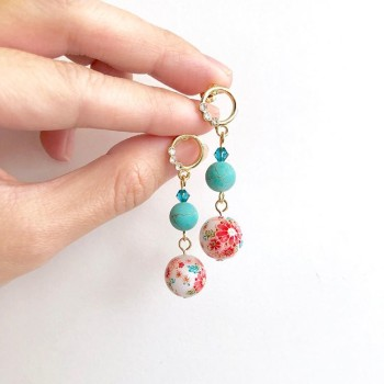 Tranquil Sakura Pink & Turquoise Earrings - Diary of a Miniature Enthusiast
