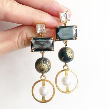 Matte Black and Gold with Pearl Earrings - Diary of a Miniature Enthusiast
