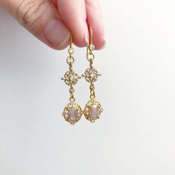 Precious Shell Drop Earrings (Cubic Zirconia Stones) - Diary of a Miniature Enthusiast