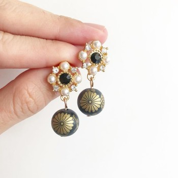 Matte Black and Gold Earrings - Diary of a Miniature Enthusiast