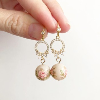 Pastel Pink Rose in Light Blush Link Earrings (Cubic Zirconia Links) - Diary of a Miniature Enthusiast