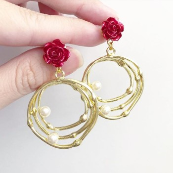 Christmas Romance Red Rose Statement Earrings - Diary of a Miniature Enthusiast