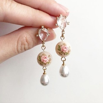 Pastel Pink Rose in Light Blush Diamonds & Pearl Earrings - Diary of a Miniature Enthusiast