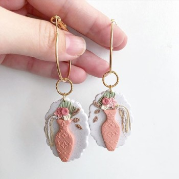 Ikebana III Peace Lily in a Vase Earrings - Diary of a Miniature Enthusiast