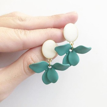 Matte Pastel Olive Floral Bouquet Petals Earrings - Diary of a Miniature Enthusiast
