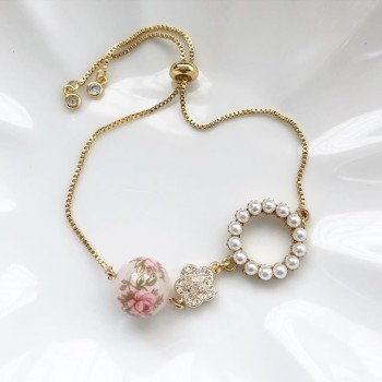 Pastel Pink Rose in Light Blush Cubic Zirconia Adjustable Bracelet - Diary of a Miniature Enthusiast