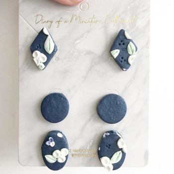 Midnight Sky Blooms Teardrop Dangle Earrings - Diary of a Miniature Enthusiast