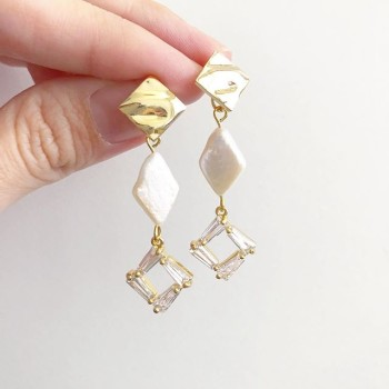 Purity Sparkle and Pearl Half Loop Earrings (Cubic zirconia charm - Diary of a Miniature Enthusiast