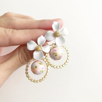 Blush Bunny Floral Asymmetrical Earrings - Diary of a Miniature Enthusiast
