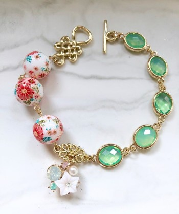 Tranquil Sakura Pink & Turquoise Adjustable Bracelet and Tranquil - Diary of a Miniature Enthusiast