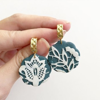 Christmas Vintage Lace Triangular Drop Earrings - Diary of a Miniature Enthusiast