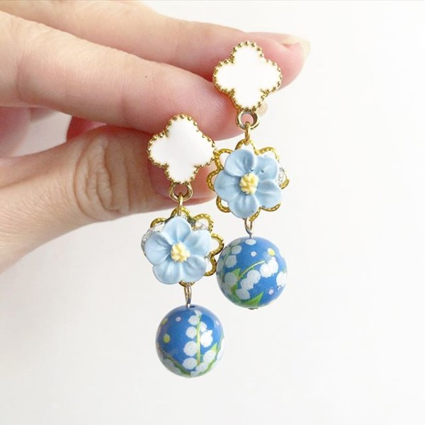 Springtime Blossoms Pastel Blue Bellflowers Earrings - Diary of a Miniature Enthusiast