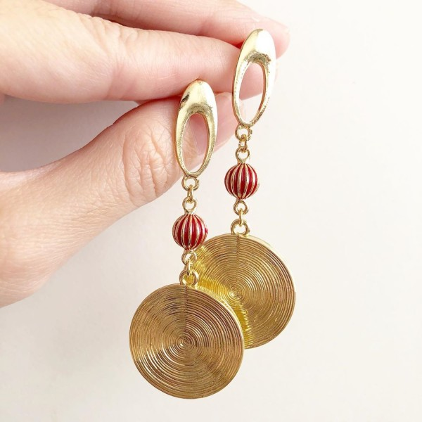 Red and Gold Long Earrings - Diary of a Miniature Enthusiast