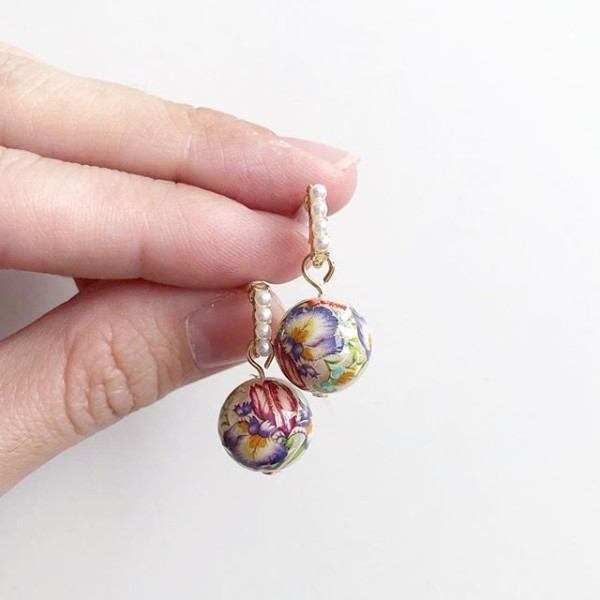 Purple Wildflowers Pearl Studs - Diary of a Miniature Enthusiast