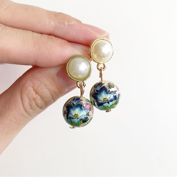Blue Lillies with Pearls Earrings - Diary of a Miniature Enthusiast