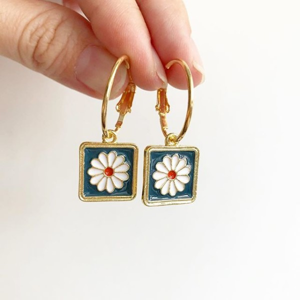 Night Chamomile Fields Elegance Hook Earrings - Diary of a Miniature Enthusiast