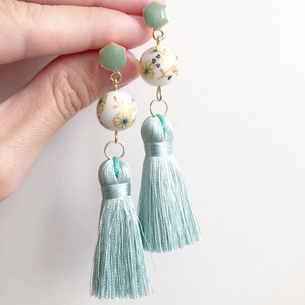 White Daffodils Dusty Blue Silk Tassels Earrings - Diary of a Miniature Enthusiast
