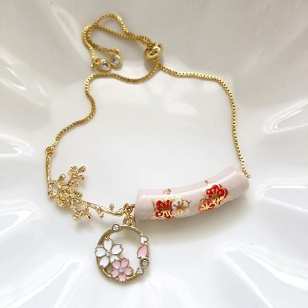 Plum Blossoms in Blush Ceramic Tensha Adjustable Bracelet - Diary of a Miniature Enthusiast