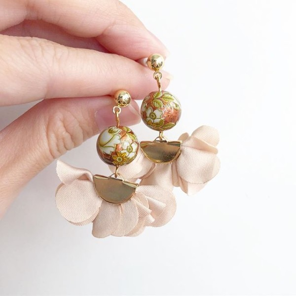 Vintage Camelia on Copper Flare Earrings - Diary of a Miniature Enthusiast