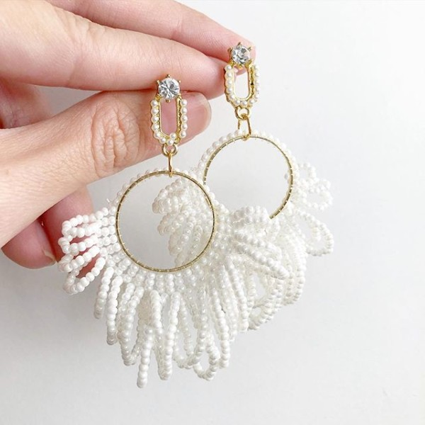 White Seeds Flare Earrings - Diary of a Miniature Enthusiast