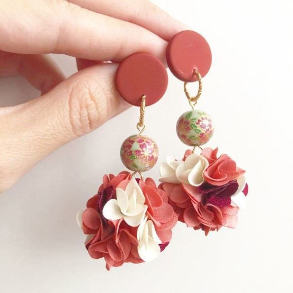 Sage Sakura Terra-cotta Pompom Earrings - Diary of a Miniature Enthusiast