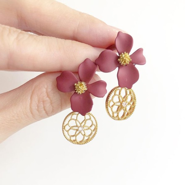 Red and Gold Floral Earrings - Diary of a Miniature Enthusiast