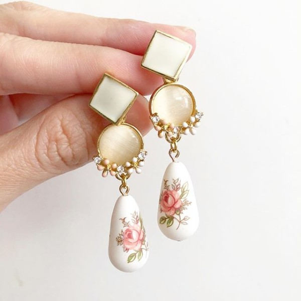 Pastel Pink Rose Geometric Earrings - Diary of a Miniature Enthusiast