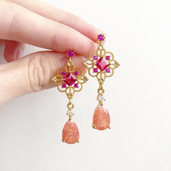Precious Peach Magenta Intricate Earrings - Diary of a Miniature Enthusiast