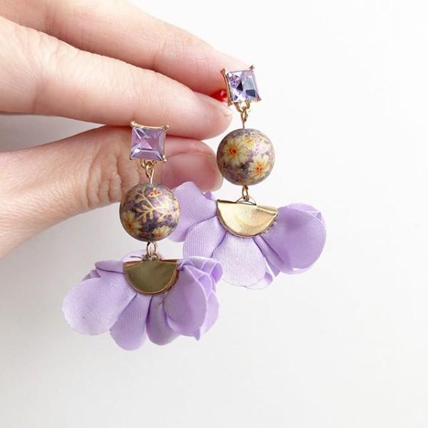 Metallic Purple Daffodils Flare Earrings - Diary of a Miniature Enthusiast