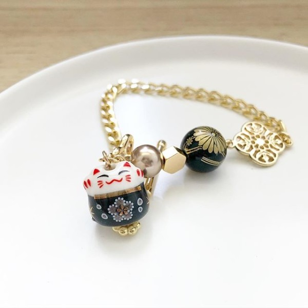 Black Lucky Cat Tensha Charm Bracelet - Diary of a Miniature Enthusiast