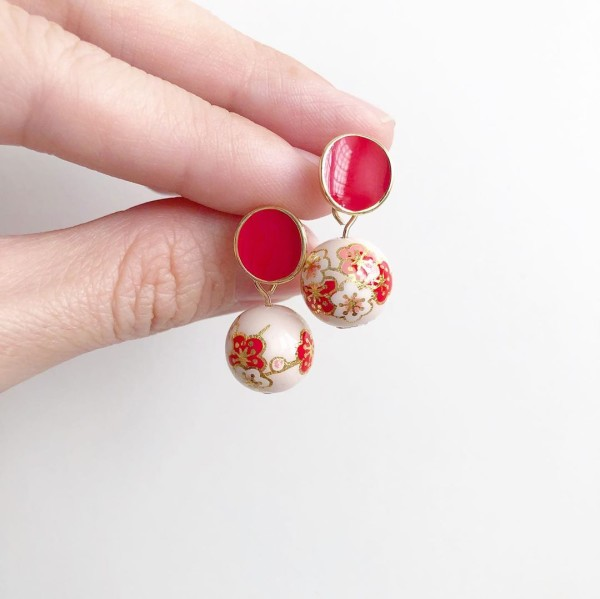 Pale Blush Plum Blossoms Red Studs - Diary of a Miniature Enthusiast