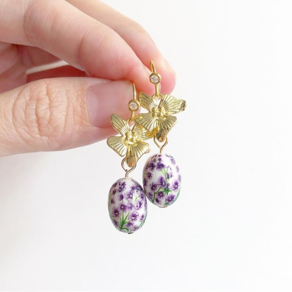Gold and Purple Floral Earrings - Diary of a Miniature Enthusiast