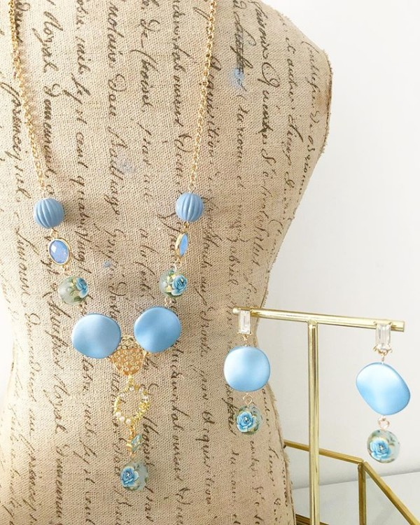 Blue and Gold Earrings and Necklace - Diary of a Miniature Enthusiast