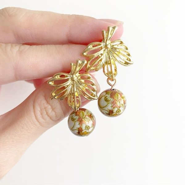 Gold Floral Earrings - Diary of a Miniature Enthusiast