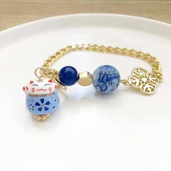 Blue Lucky Cat Tensha Charm Bracelet - Diary of a Miniature Enthusiast
