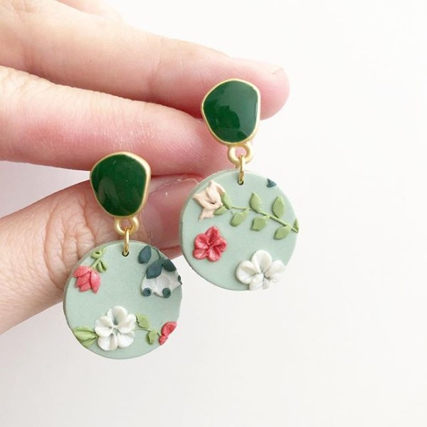 Sage & Serenity Garden 20mm Round Earrings - Diary of a Miniature Enthusiast