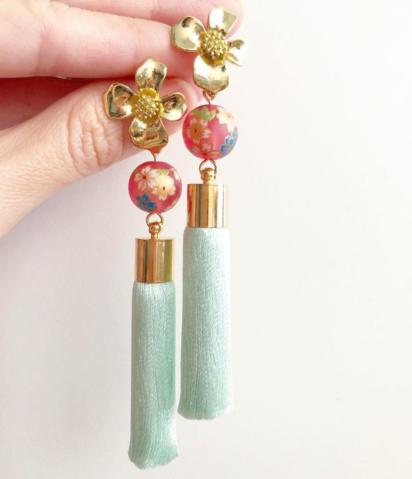 Pink Frosted Sakura with Premium Mint Silk Tassels - Diary of a Miniature Enthusiast