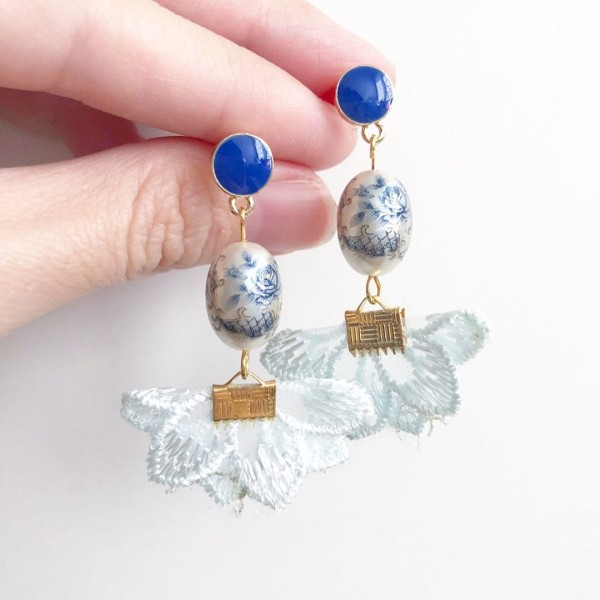 Pearl Toile Rose Baby Blue Flare Earrings - Diary of a Miniature Enthusiast