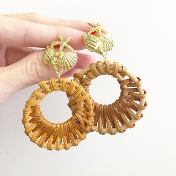 Rattan Loop on Sea Shells Stud Earrings - Diary of a Miniature Enthusiast