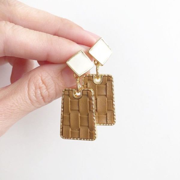 Tan Leather Earrings - Diary of a Miniature Enthusiast