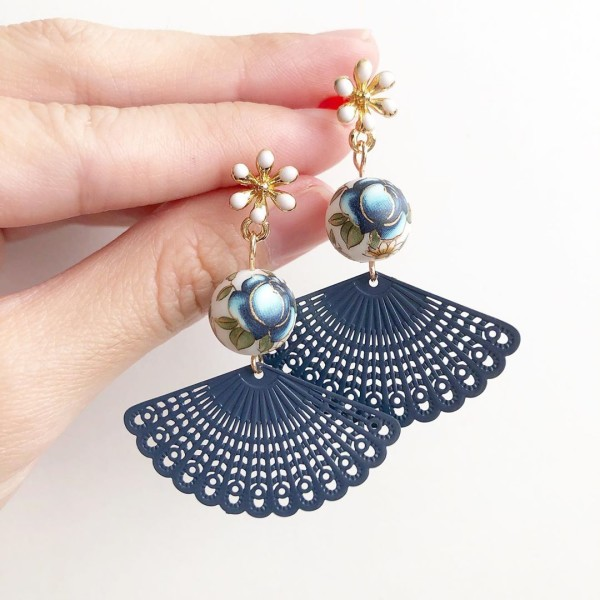 Blue Rose Fan Flare Earrings - Diary of a Miniature Enthusiast