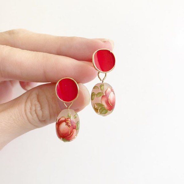 Frosted Red Rose Plain Red Earrings - Diary of a Miniature Enthusiast