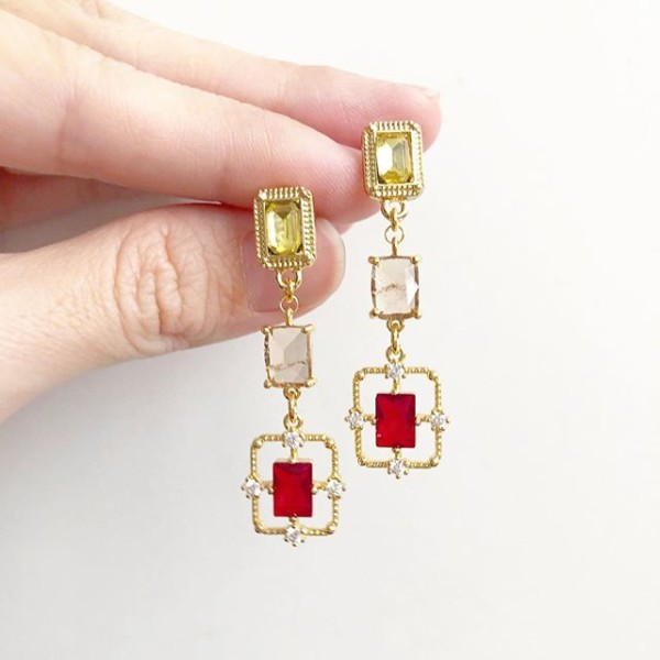 Precious Rectangular Red Earrings (Cubic Zirconia stones) - Diary of a Miniature Enthusiast