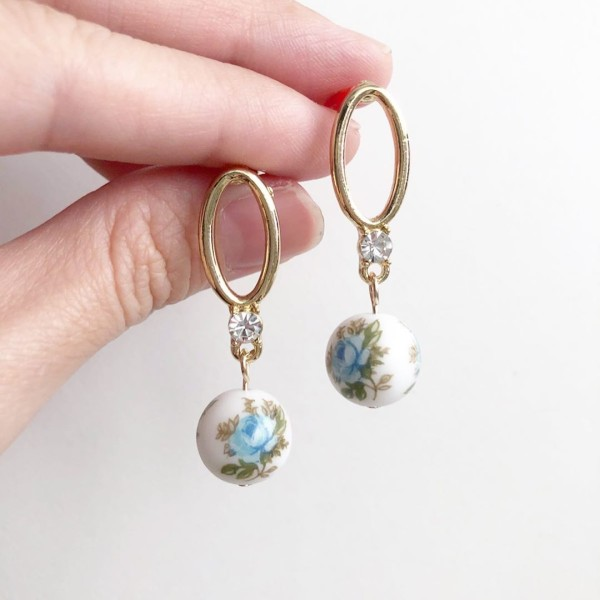 Baby Blue Rose Diamanté Earrings - Diary of a Miniature Enthusiast