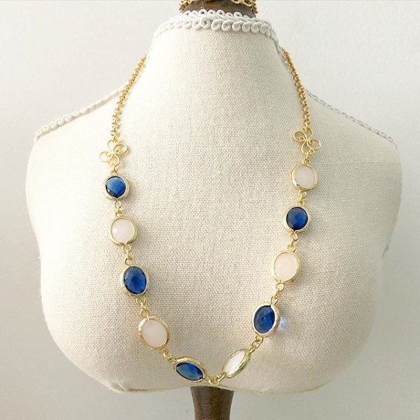 Royal Blue and White Links Necklace - Diary of a Miniature Enthusiast