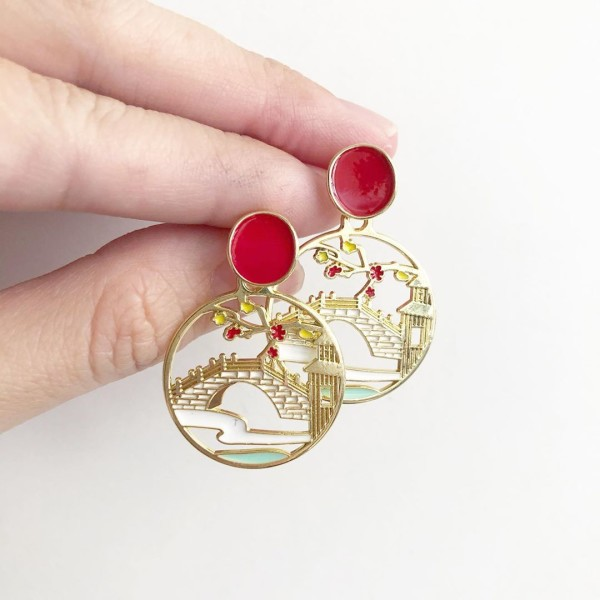 Mid Autumn Blessings Lovers Bridge Earrings - Diary of a Miniature Enthusiast