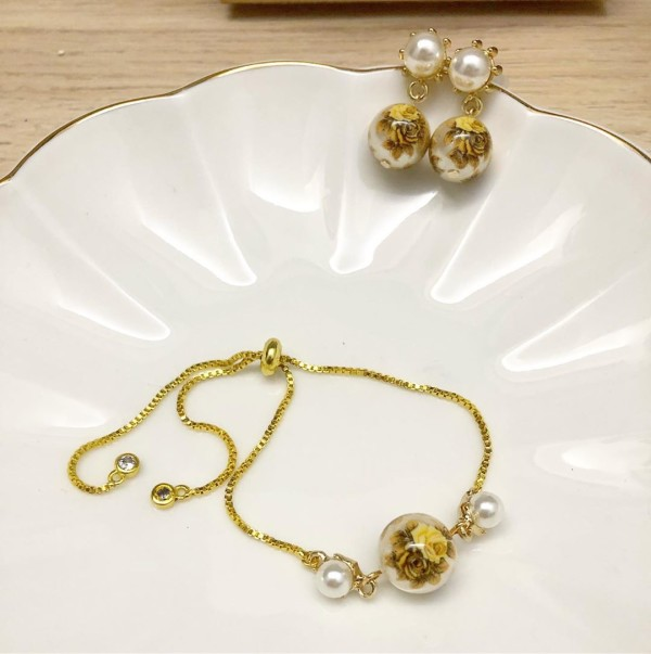 Double Yellow Vintage Rose Pearl Stud Earrings and Adjustable Bra - Diary of a Miniature Enthusiast